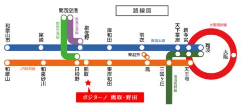 路線図【ポジターノ熊取・野田】